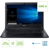 Notebook Acer A315-53-333H Intel Core I3 7020U 4Gb 1Tb 15,6 Windows 10 Home Preto