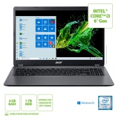 Notebook Acer A315-54K-31E8 Intel Core I3 6006U 4Gb 1Tb 15,6 Windows 10 Home Cinza